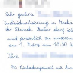 Geschäftskundenlösungen in Handschrift von Pensaki, Postkarten, Briefe, Einladungen