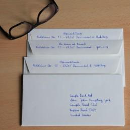Kuverts in Handschrift von Pensaki