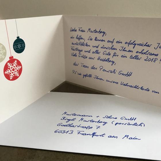 Exklusive Weihnachtskarte in Handschrift online bestellen bei Pensaki