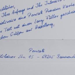 briefkarte premium in handschrift 400 Pensaki mit Montblanc Füller