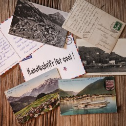 authentic handwritten postcard with a ballpen and your design
