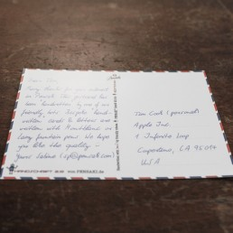 real handwritten postcard with a ballpen and your design