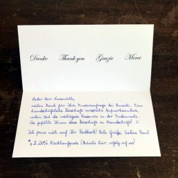 Pensaki Dankeskarte 400 in Handschrift