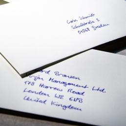 Handgeschriebene Briefumschläge