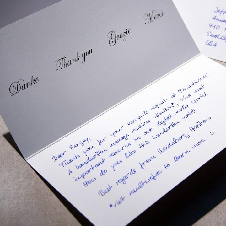 Dankeskarte Handschrift Pensaki Roboter Muster Alex