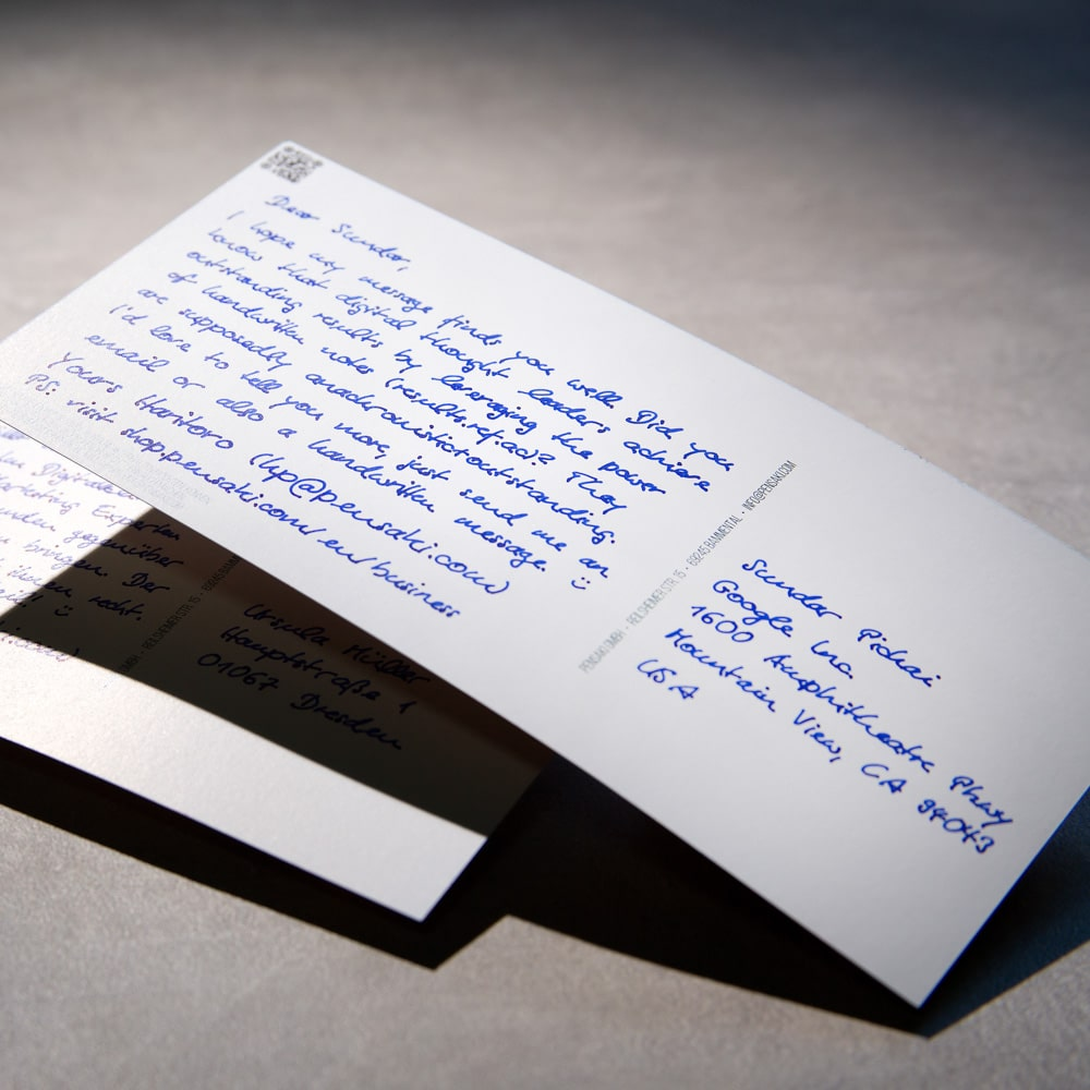 Postkarten Roboter Handschrift von Pensaki