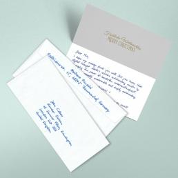 Handschriftliche Weihnachtskarte mit Kuvert von Pensaki BLAU