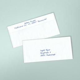 Handgeschriebene Kuvert2S mit Empfängeranschrift und Abenderangaben