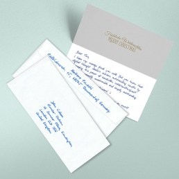 Bespoke handwritten christmas cards including global shipment BLUE