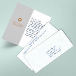 Minimalismus Weihnachtskarten in Handschrift inkl. Versand durch Pensaki - ROT