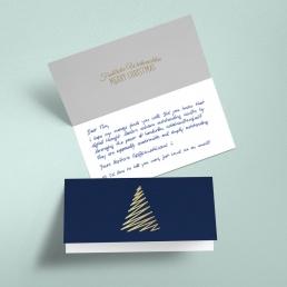 Weihnachtskarten in Handschrift online bestellen Klappkarte DIN Lang BLAU