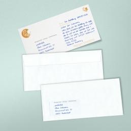 Einlegekarten in Handschrift mit Anschrift in Handschrift