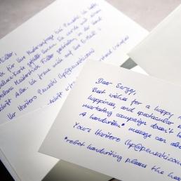 Handgeschriebene Deluxe Briefkarte ALEX Handschrift Pensaki