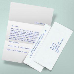 Handgeschriebene Briefe mit Kuvert und Versand