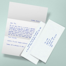 Handwritten Letter A4 650 including envelopes global mail delivery