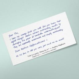 Beileger Dankeskarte Pakete in Handschrift