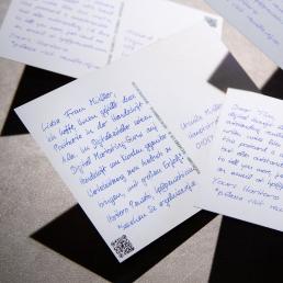 Din A6 Postkarten in Handschrift von PENSAKI