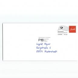 PENSAKI Handschriftliche Adressierung Kuvert mit Dialogpost Frankierwelle
