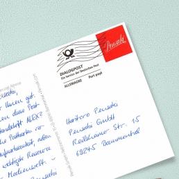 handgeschriebene Postkarte A6 mit Adresse von PENSAKI