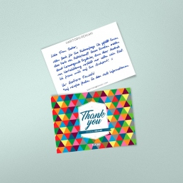 A6 Dankeskarte Paketbeileger in Handschrift