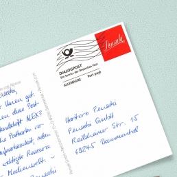 A6 Postkarte mit Frankierwelle Kugelschreiber