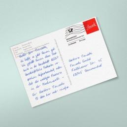 A6 Postkarte mit Frankierwelle