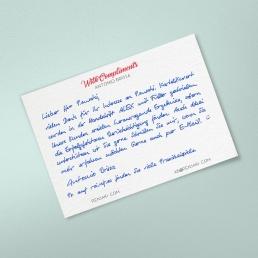 B6 Dankeskarte in Handschrift ALEX 2-seitig