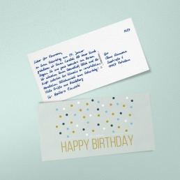 Geburtstagskarte in Handschrift Postkarte