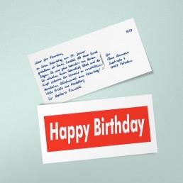 Geburtstagskarte in Handschrift Geburtstagskarte