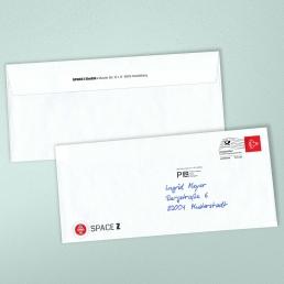 Handschriftliches Kuvert Frankierwelle Dialogpost PENSAKI