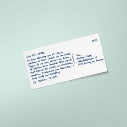 PENSAKI Handgeschriebene Geburtstagskarte Postkarte mit Datumssegment
