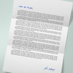 Drucksache mit Anrede und Signatur