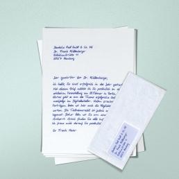 Handschriftlicher Brief mit Adressfeld von PENSAKI