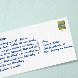 Handgeschriebene Postkarte DL Porto € 0,60