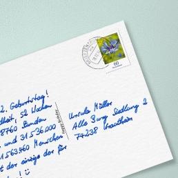 Handgeschriebene Postkarte Frankierung Vollporto