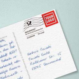 Handgeschriebene Postkarte Frankiervermerk