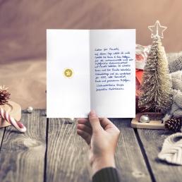 handwritten christmas card white reindeer by PENSAKI