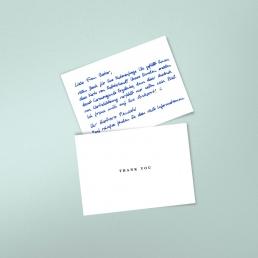 Handgeschriebene Dankeskarten vom Roboter