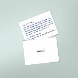 Handgeschriebene Entschuldigungskarten