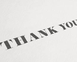 Handgeschriebene Dankeskarten mit bis zu 400 Zeichen