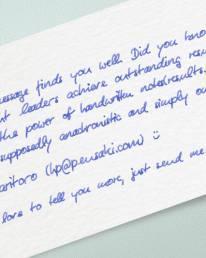 handwritten cards, written by robots