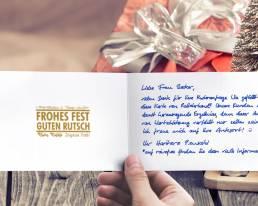 A6 Weihnachtskarte mit handgeschriebenem Text GRÜN ALEX