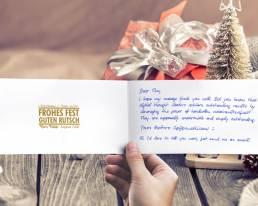 Weihnachtskarte mit handgeschriebenem Text 2021