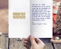 Weihnachtskarte mit handgeschriebenem Text GOLD 2021